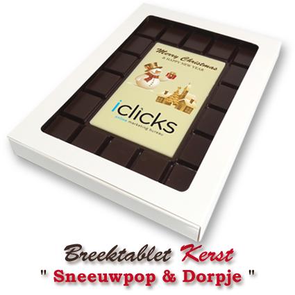 Chocolade-Breektablet-Kerst-Sneeuwpop-Dorpje