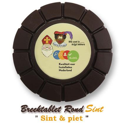 Chocolade Breektablet Rond Sinterklaas - Sint & Piet