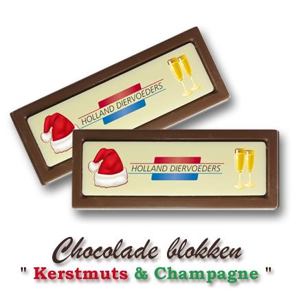 Chocolade Blokken Kerst  - Kerstmuts & Champagne