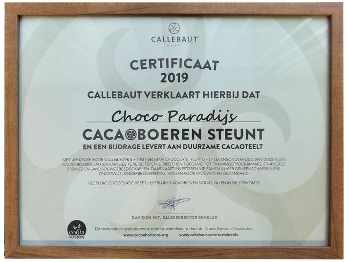 Certificaat callebaut Cocoa Horizons