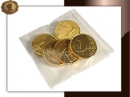 Chocolade munten per 5 stuks verpakt