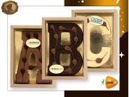 Chocoladeletter met logo 200 gram