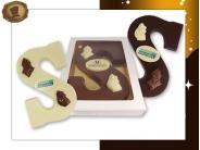 Chocoladeletter S  met Logo, Sint en Zak
