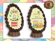 Chocolade Paasei geheel naar uw wens te bedrukken