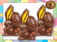Chocolade Paashaas <br/>met EI - deco geel-oranje