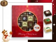 Kerst Pralines 16 stuks Kerstbal rood-goud