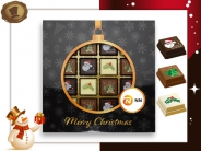 Kerst Pralines 16 stuks Kerstbal zwart-goud