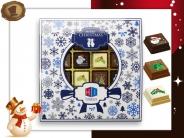 Kerst Pralines 16 stuks Kerstbal Delfts-blauw