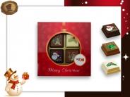 Kerst Pralines 4 stuks Kerstbal rood-goud